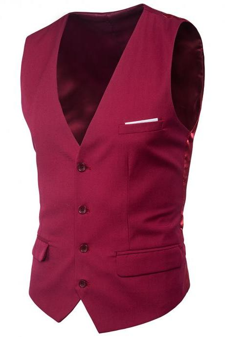 Men Suit Waistcoat Single Breasted Vest Jacket Casual Business Slim Fit Sleeveless Coat wine red
