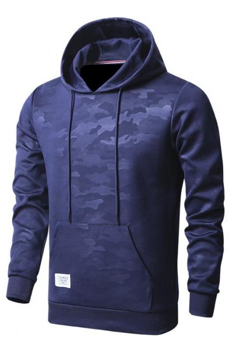Men Camouflage Hoodies Spring Autumn Long Sleeve Hip Hop Streetwear Casual Slim Hooded Sweatshirt navy blue
