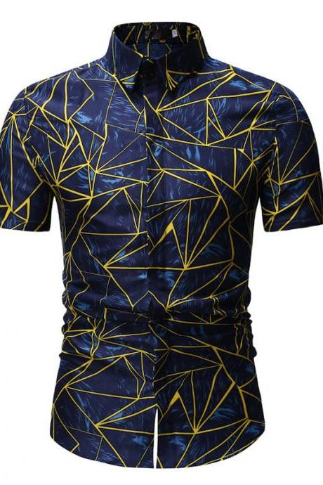 Men Floral Printed Shirt Summer Beach Short Sleeve Hawaiian Holiday Vacation Casual Slim Fit Shirt 10#