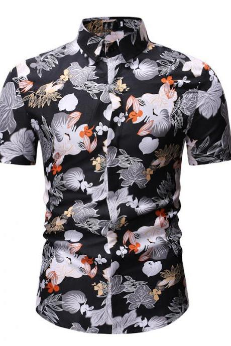 Men Floral Printed Shirt Summer Beach Short Sleeve Hawaiian Holiday Vacation Casual Slim Fit Shirt 16#