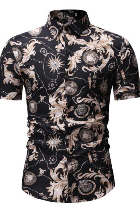 Men Floral Printed Shirt Summer Beach Short Sleeve Hawaiian Holiday Vacation Casual Slim Fit Shirt 23#