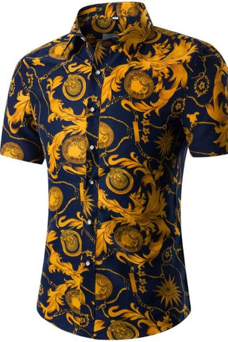 Men Floral Printed Shirt Summer Beach Short Sleeve Hawaiian Holiday Vacation Casual Slim Fit Shirt 24#