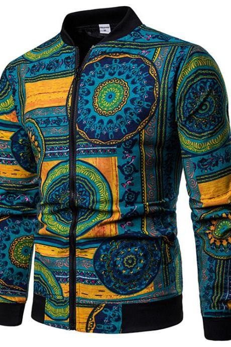 Men Floral Printed Coat Spring Autumn Long Sleeve Casual Slim Fit Bomber Baseball Windbreakers Jacket 6#