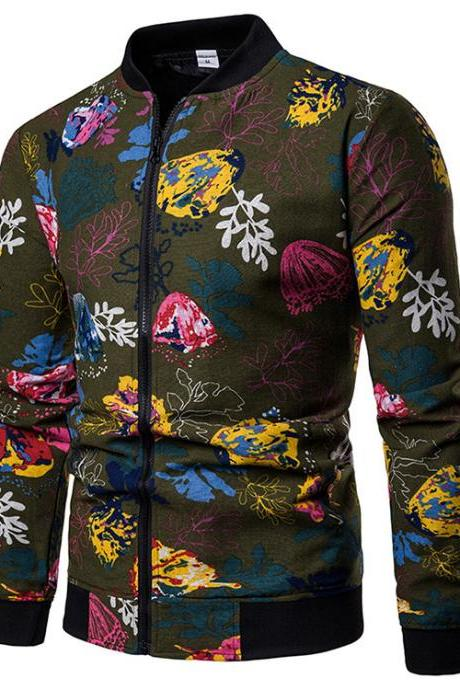 Men Floral Printed Coat Spring Autumn Long Sleeve Casual Slim Fit Bomber Baseball Windbreakers Jacket 14#