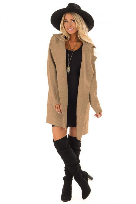Women Woolen Coat Autumn Winter Casual Loose Pocket Long Sleeve Jacket Outwear khaki