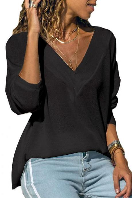 Women Long Sleeve Tops Spring Autumn V-Neck Casual Loose Jumper Pullover black