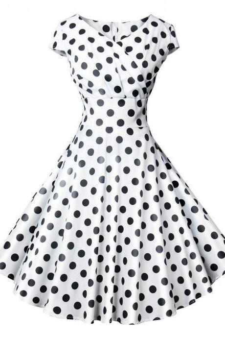 Women Casual Dress Vintage V Neck Short Sleeve Polka Dot Printed Slim A Line Formal Party Evening Dress 501