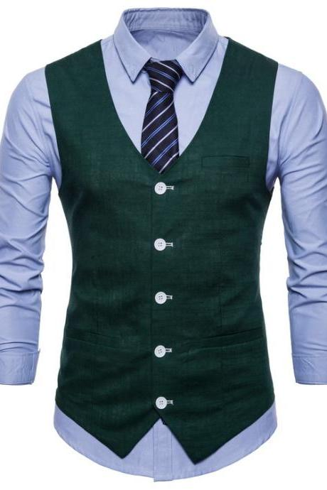 Men Suit Waistcoat V Neck Vest Jacket Single Breasted Casual Slim Fit Sleeveless Coat hunter green