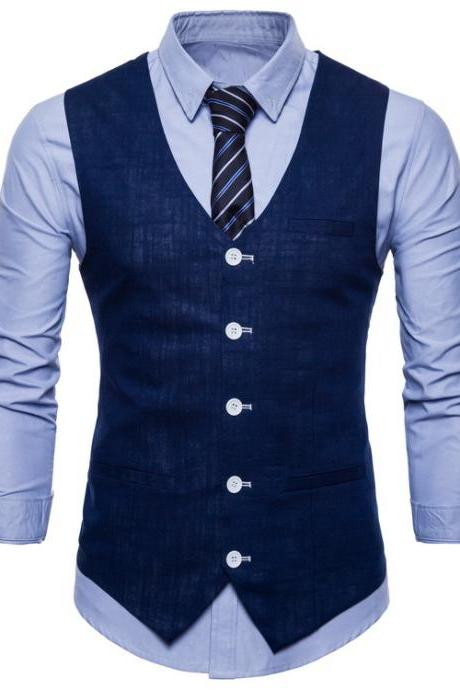 Men Suit Waistcoat V Neck Vest Jacket Single Breasted Casual Slim Fit Sleeveless Coat navy blue