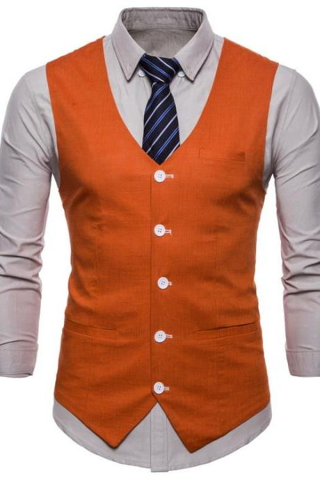 Men Suit Waistcoat V Neck Vest Jacket Single Breasted Casual Slim Fit Sleeveless Coat orange
