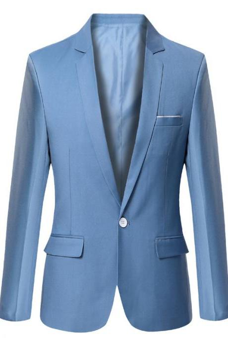 Men Blazer Coat Long Sleeve One Button Casual Business Slim Fit Suit Jacket sky blue
