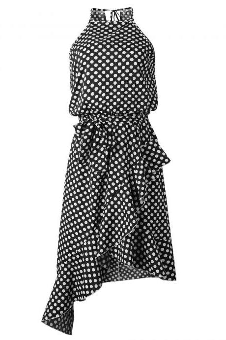Women Polka Dot Dress Sleeveless Ruffles Summer Beach Casual Boho Asymmetrical Sundress black