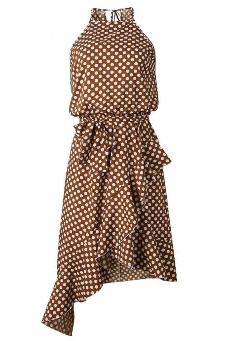 Women Polka Dot Dress Sleeveless Ruffles Summer Beach Casual Boho Asymmetrical Sundress coffee