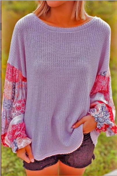 Women Knitted Sweater Autumn Long Lantern Sleeve Patchwork Casual Loose Pullovers Tops lilac
