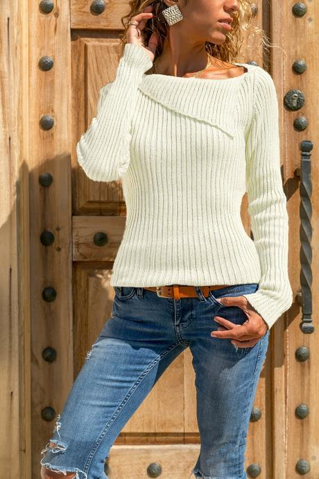 Women Knitted Sweater Autumn Winter Solid Long Sleeve Casual Pullover Tops off white