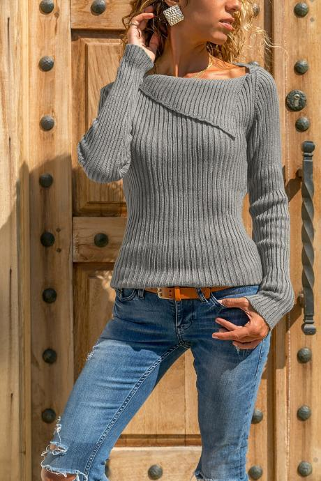 Women Knitted Sweater Autumn Winter Solid Long Sleeve Casual Pullover Tops gray