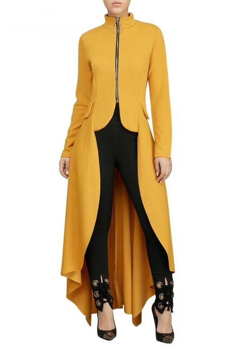 Women Asymmetrical Dress Turtleneck Zipper Long Sleeve Casual Maxi Club Party Dress yellow