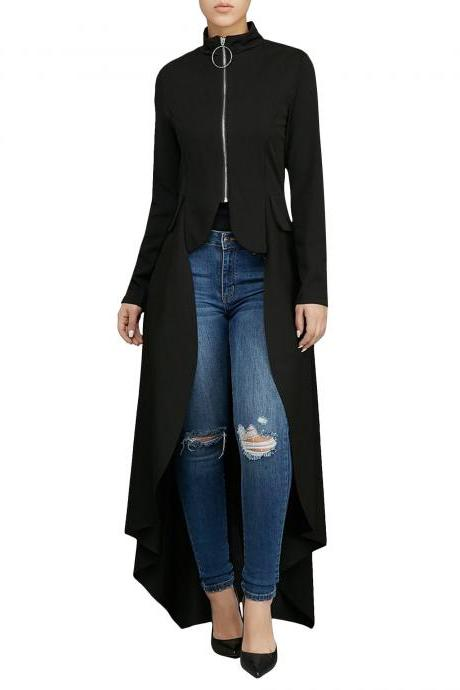 Women Asymmetrical Dress Turtleneck Zipper Long Sleeve Casual Maxi Club Party Dress black