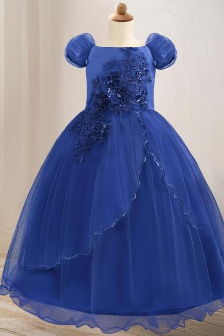 Off The Shoulder Flower Girl Dress Lace Formal Birthday Pageant Long Party Gown Children Clothes royal blue