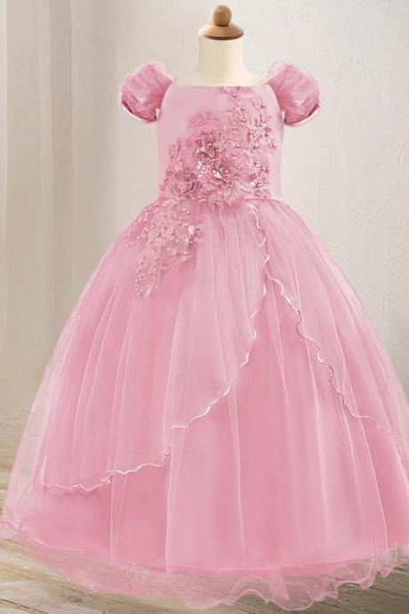 Off The Shoulder Flower Girl Dress Lace Formal Birthday Pageant Long Party Gown Children Clothes pink