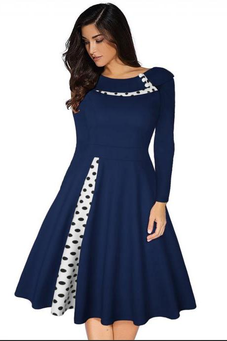 Women Polka Dot Patchwork Dress Long Sleeve Vintage Rockabilly A Line Formal Party Dress navy blue
