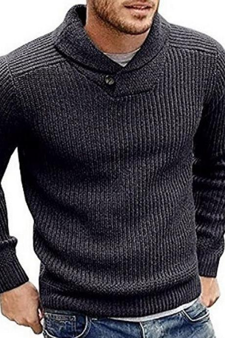 Men Knitted Sweater Autumn Winter Slim Warm Long Sleeve Casual Pullover Tops dark gray