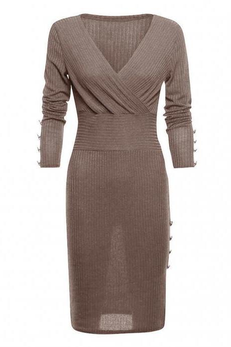 Women Knitted Pencil Dress V Neck Long Sleeve Rivet Button Bodycon Club Party Dress brown