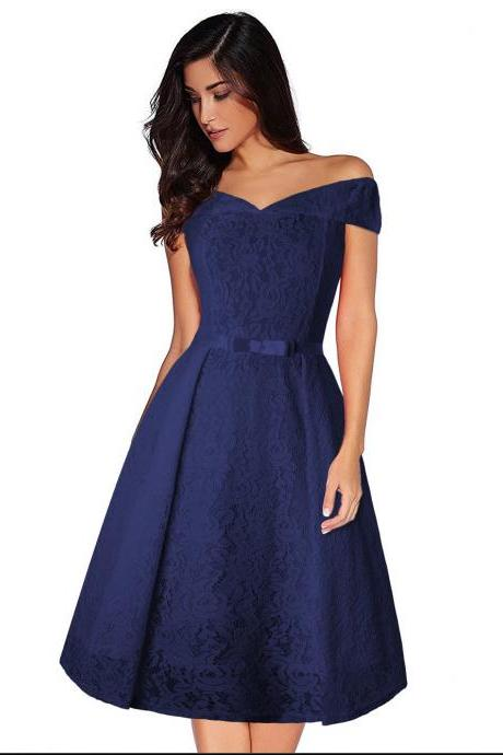 Women Floral Lace Dress Off the Shoulder Casual Patchwork A Line Formal Party Dress navy blue