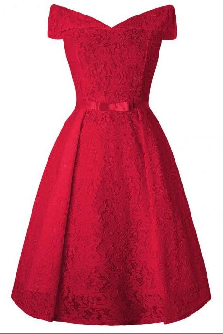 Women Floral Lace Dress Off the Shoulder Casual Patchwork A Line Formal Party Dress red