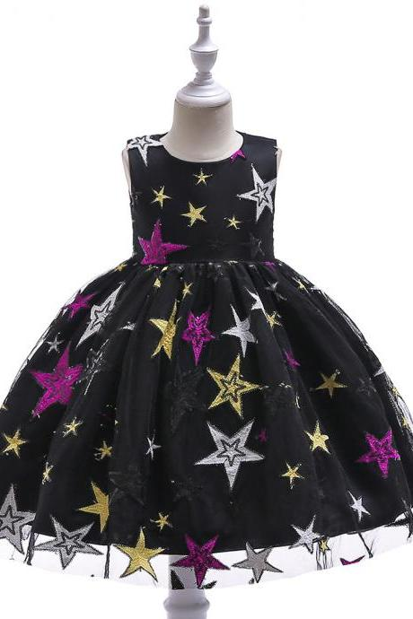 Princess Flower Girl Dress Sleeveless Star Printed Formal Birthday Party Gown Children Clothes black