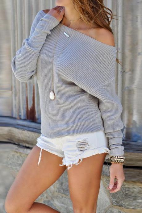 Women Sweater Spring Autumn Off the Shoulder Long Sleeve Casual Slim Pullover Tops gray
