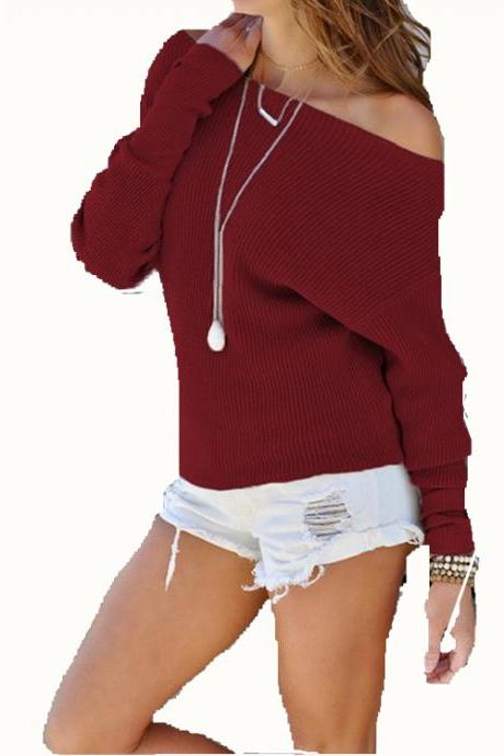 Women Sweater Spring Autumn Off the Shoulder Long Sleeve Casual Slim Pullover Tops wine red