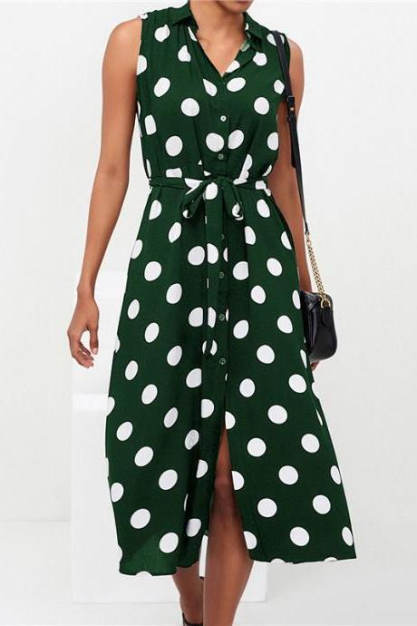 Women Polka Dot Dress Turn-Down Collar Casual Belted Boho Sleeveles Midi Shirt Dress army green