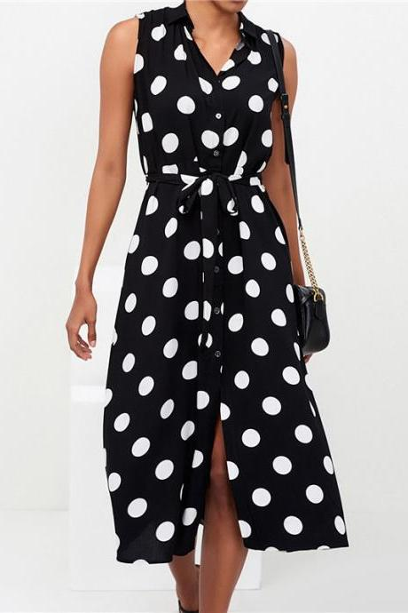 Women Polka Dot Dress Turn-Down Collar Casual Belted Boho Sleeveles Midi Shirt Dress black