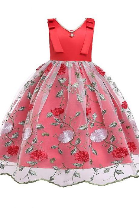 Embroidery Floral Flower Girl Dress Sleeveless Formal Perform Party Tutu Gown Children Clothes red