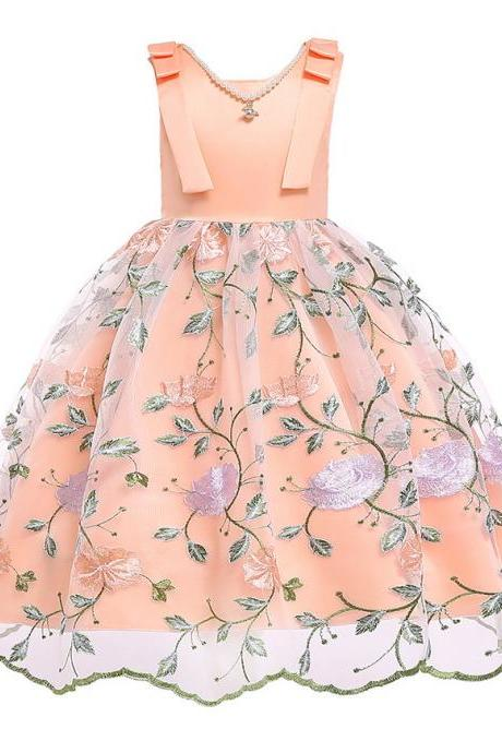 Embroidery Floral Flower Girl Dress Sleeveless Formal Perform Party Tutu Gown Children Clothes orange