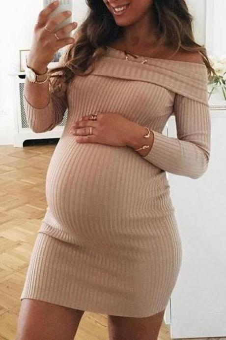 Women Pregnant Dress Off Shoulder Slash Neck Long Sleeve Casual Mini Club Pencil Party Dress khaki