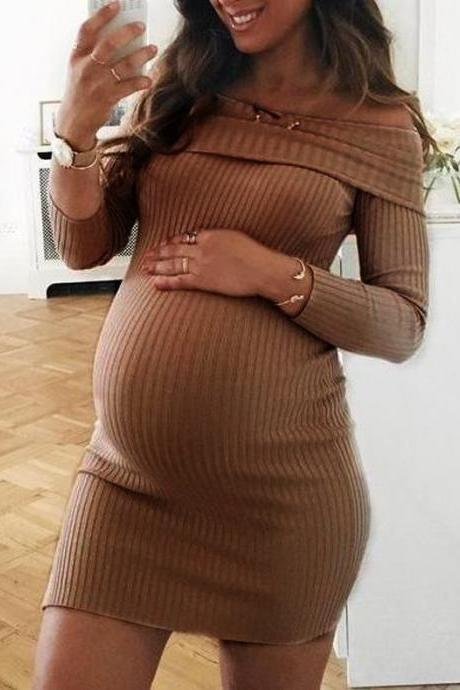 Women Pregnant Dress Off Shoulder Slash Neck Long Sleeve Casual Mini Club Pencil Party Dress coffee