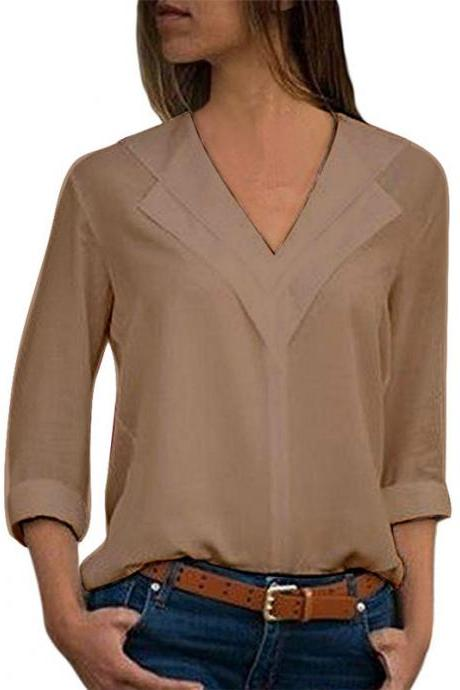 Women Chiffon Blouse Spring Autumn V Neck Long Sleeve Casual Loose Plus Size Tops Shirt khaki
