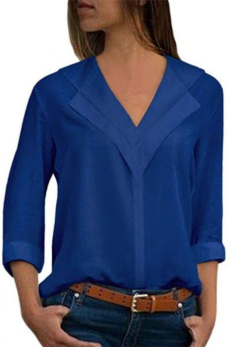 Women Chiffon Blouse Spring Autumn V Neck Long Sleeve Casual Loose Plus Size Tops Shirt royal blue