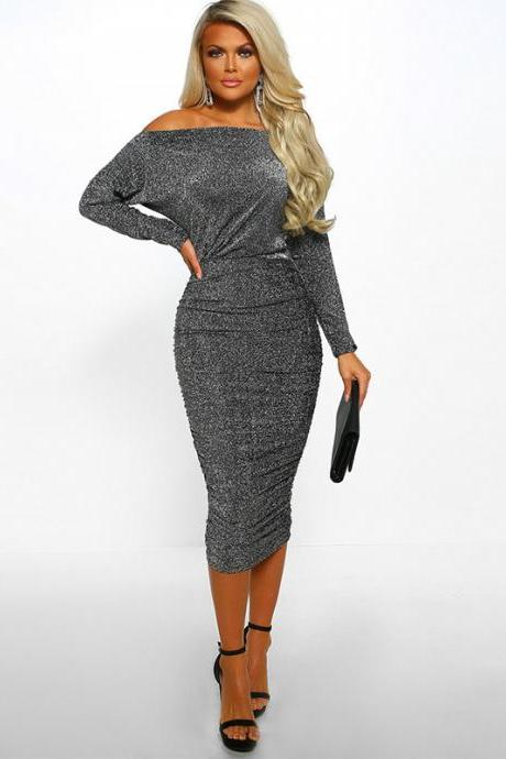 Women Pencil Dress Sexy Off the Shoulder Long Sleeve Bodycon Midi Club Party Dress gray