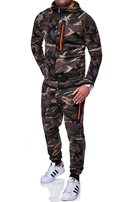 Men Camouflage Printed Tracksuit Hooded Coat+Trousers Causal Sportswear Two Pieces Set green