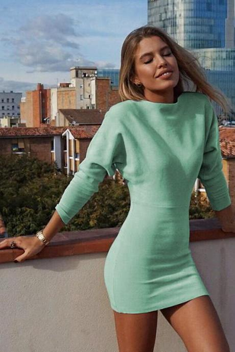 Women Pencil Dress Spring Autumn Long Sleeve Slim Bodycon Mini Club Party Dress green