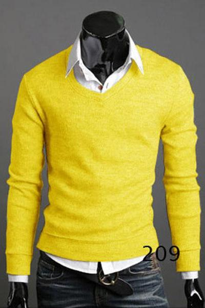Men Knitwear Sweater Spring Autumn V Neck Long Sleeve Jumpers Casual Slim Pullover Tops yellow
