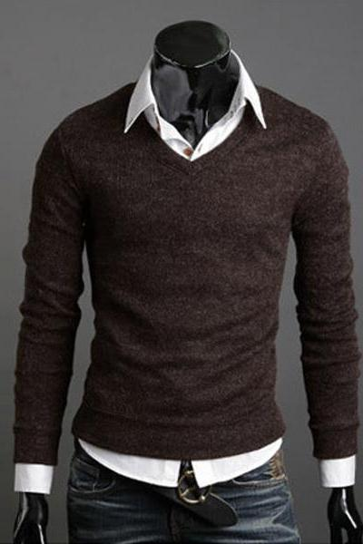 Men Knitwear Sweater Spring Autumn V Neck Long Sleeve Jumpers Casual Slim Pullover Tops coffee