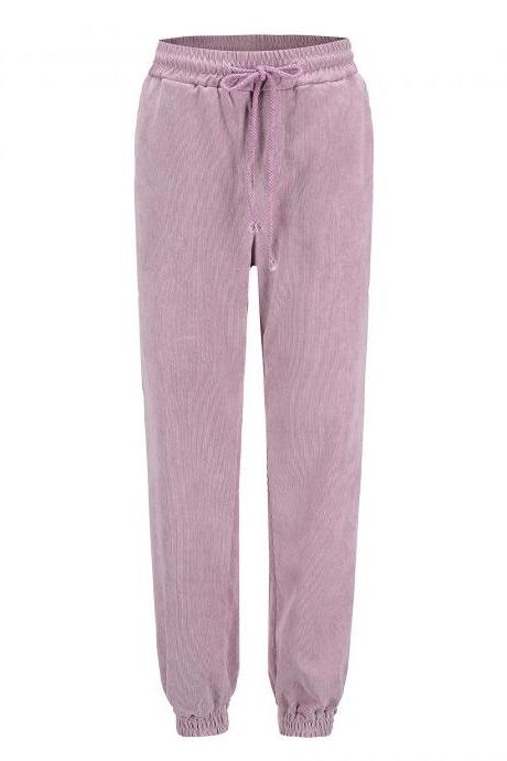 Women Corduroy Pants Autumn Harajuku Drawstrimg High Waist Casual Cropped Trousers pink