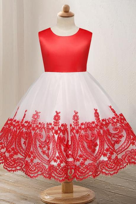 Embroidery Lace Flower Girl Dress Princess Wedding Formal Party Birthday Ball Grown Children Clothes red