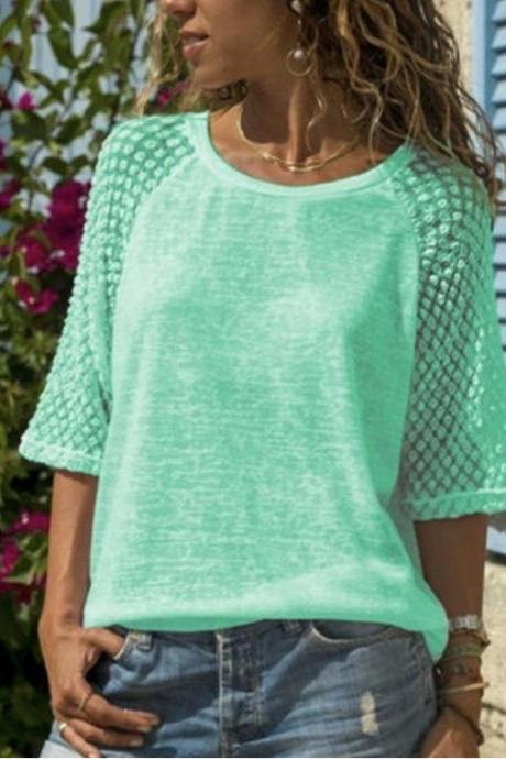 Women T Shirt O Neck 3/4 Sleeve Lace Patchwork Casual Plus Size Pullover Tops green