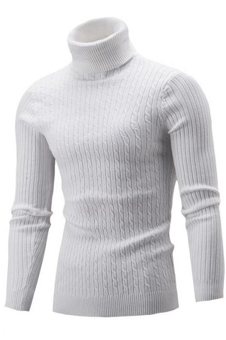 Men Sweater Autumn Winter Turtleneck Long Sleeve Casual Slim Fit Knitted Pullover Tops off white