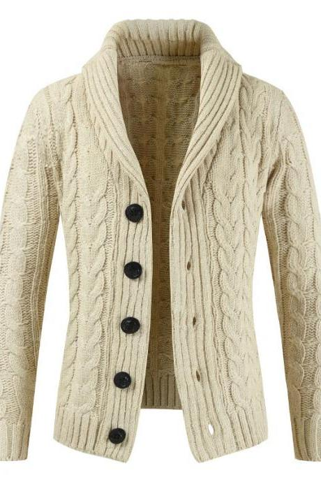 Men Sweater Coat Autumn Winter Warm Long Sleeve Casual Turn-Down Collar Button Knitted Cardigan Jacket beige